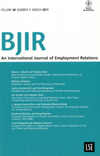 Portada de la revista British Journal of Industrial Relations